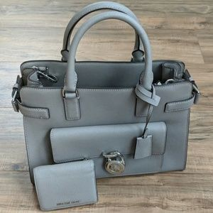 Michael kors grey leather purse & matching wallet